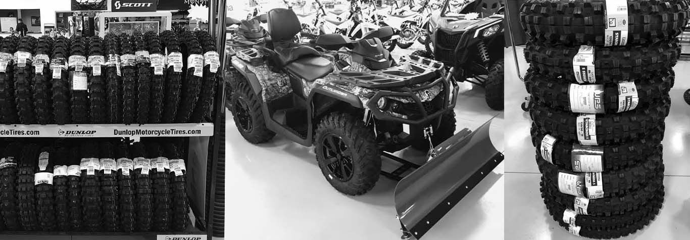 Black and white banner image of Experience Powersports' Parts Department