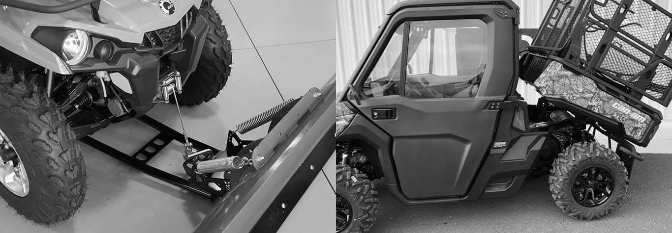 Black and white banner image of Experience Powersports' Service and Custom Work on Side-by-Side UTVs